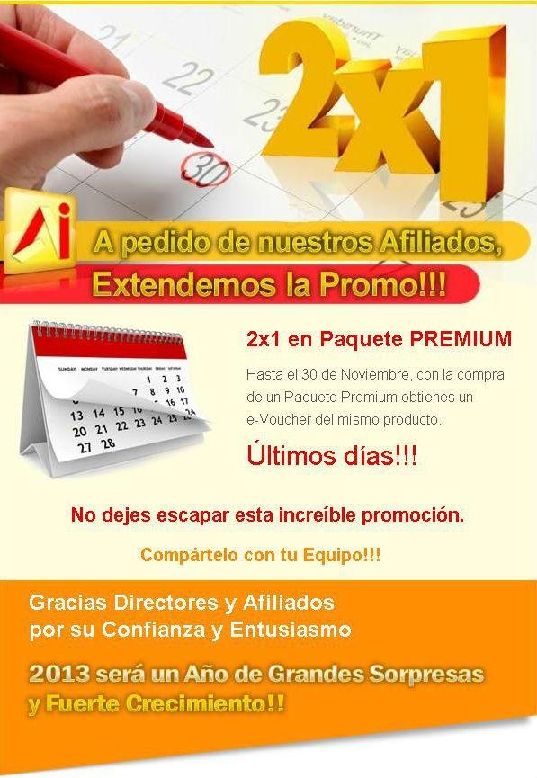 Promoción extendida 2x1 en Paquete Premium