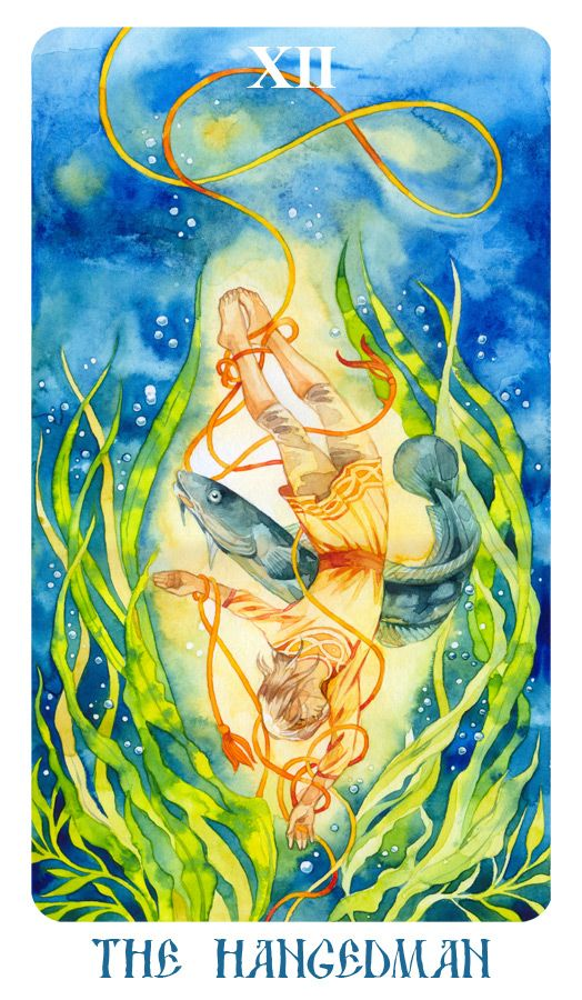 Watercolor  For the the author's tarot deck.
