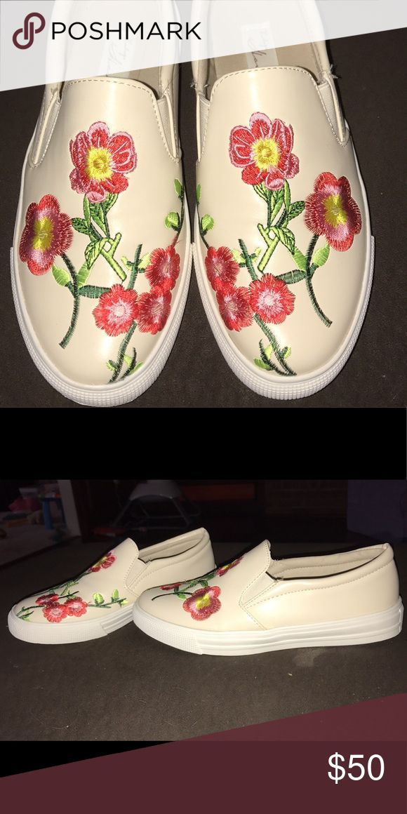 Vintage Havana Cream & Floral Slip Ons Cream background with red and pink flowers with hints of yellow and green as well. Never Worn. Vintage Havana Shoes Flats & Loafers