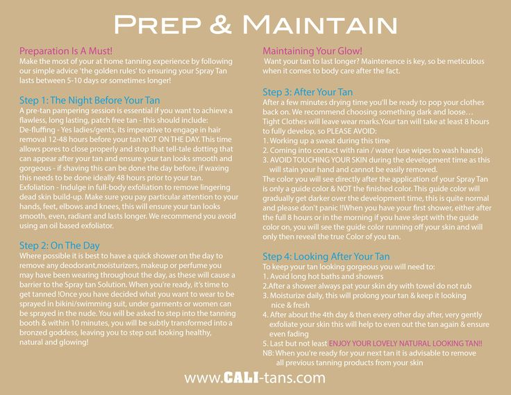 "Instructions on how to ""Prep & Maintain"" for your luxurious organic spray tan 