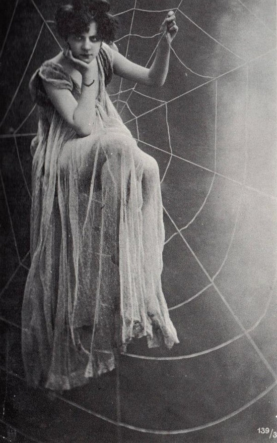 vintage witches. Halloween style inspiration. Please choose vegan. Sitting on a spiderweb