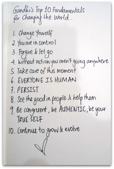 Gahndi list to change the world