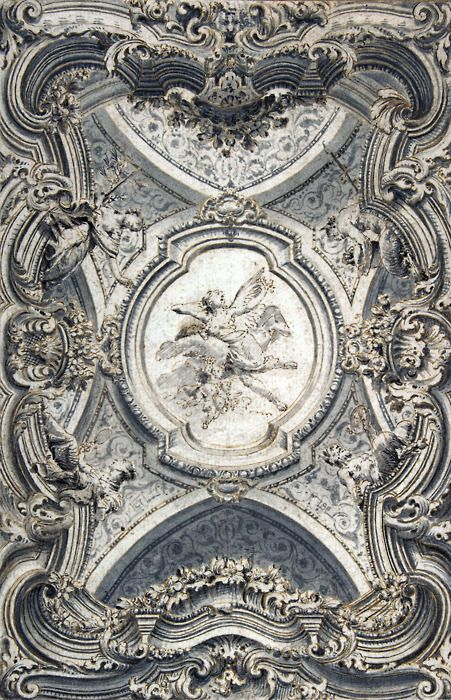 Anon. (Italian). A Baroque Ceiling...i love worked ceilings and walls^^,