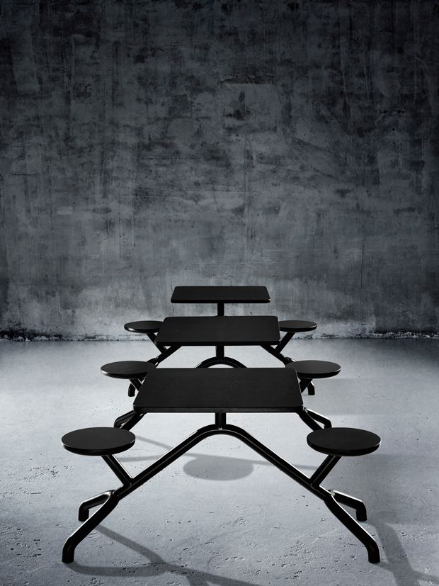 Derlot Editions - Inspired by the quintessential picnic table, Pony is a hybrid table and chairs.