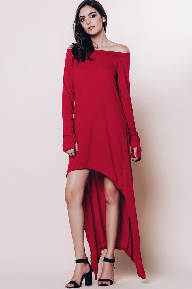 96cafc814ce0 Long Sleeve Off The Shoulder High Low Maxi T-shirt Dress - Wine Red L   Unbranded  MaxiDressTShirtDress