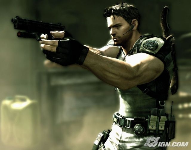 This is Resident Evil mainstay Chris Redfield.  He is one seriously muscular man!    He is the co-star of the first Resident Evil and Resident Evil: Code Veronica, and then he finally gets Resident Evil 5 all to himself.  He will be returning as one of three central characters in Resident Evil 6.    He pretty much has a serious rivalry with Albert Wesker, too.    Chris is also playable in Marvel vs. Capcom 3.