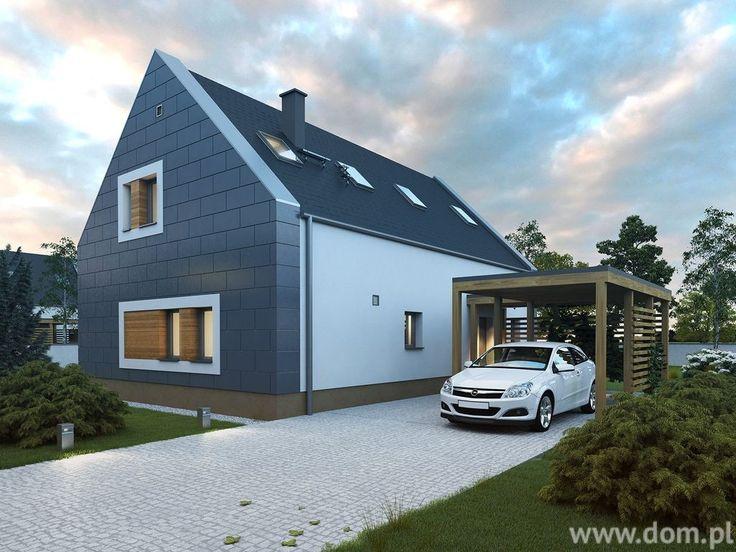 Nowoczesne projekty domów mogą mieć garaż w bryle budynku lub wiatę garażową, oszczędzającą miejsce na działce. Projekt domu DCE JAŚMINOWY CE