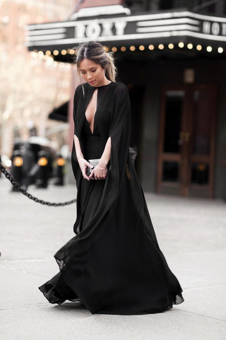 Marianna Hewitt // Life With Me Blog // NYFW Street Style // amfAR gala black dress sheer cape