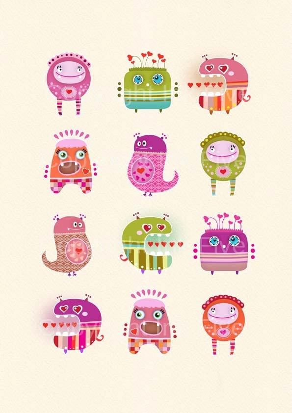 Printable nursery art print Love Monsters. Cartoon images for children kids room…
