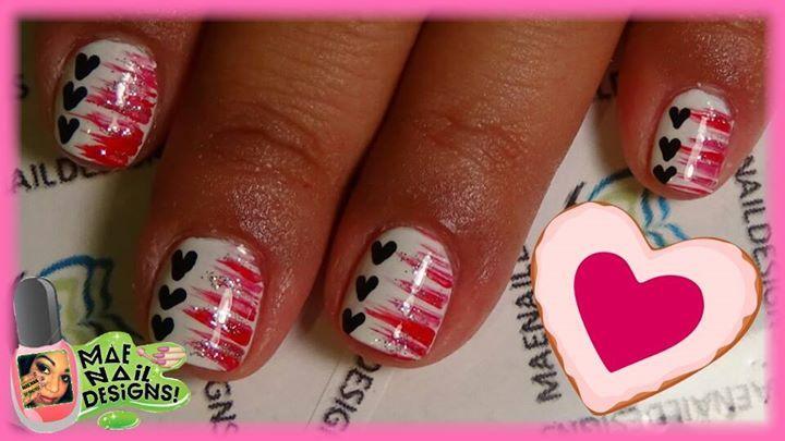 ENA19 V-Day Fan Brush Stripes & Black Hearts!   Tutorial here: http://youtu.be/F5tGtaYPP5k