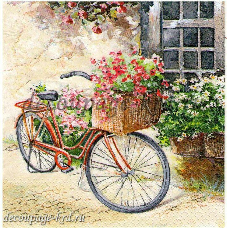 Открытка прованс с велосипедом