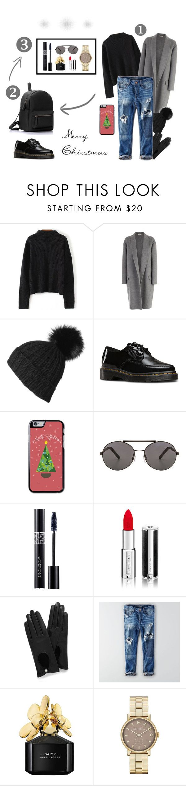 """""""Merry Christmas"""" by smaranda-leorda on Polyvore featuring CÉLINE, Black, Dr. Martens, Seafolly, Christian Dior, Givenchy, Mulberry, American Eagle Outfitters and Marc Jacobs"""