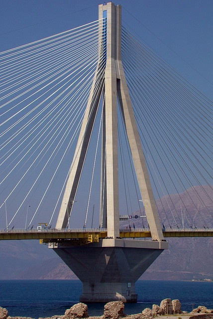 Rio-Antirio Bridge.  The longest multi span cable stayed bridge in the world.  From Peloponesso to the Sterea Ellada, GREECE.   (by Ava Babili, via Flickr)