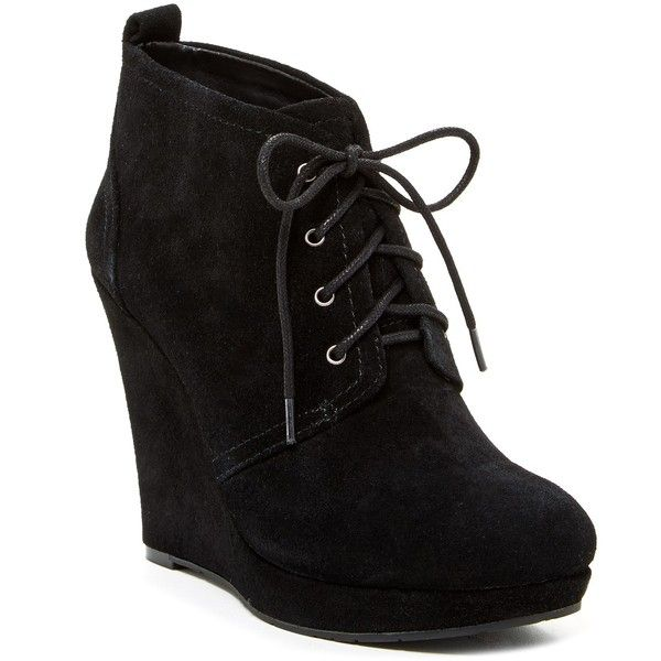 Jessica Simpson Catcher Wedge Bootie (16.920 HUF) ❤ liked on Polyvore featuring shoes, boots, ankle booties, heels, wedges, ankle boots, black, lace up booties, lace up heel booties and black wedge booties
