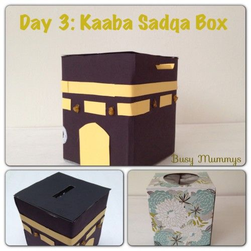 Demonstrate the Qur'an Ayah (2:274) of when we give charity, we are giving Allah a loan by upcycling a tissue box into a Kaaba Sadqa Box