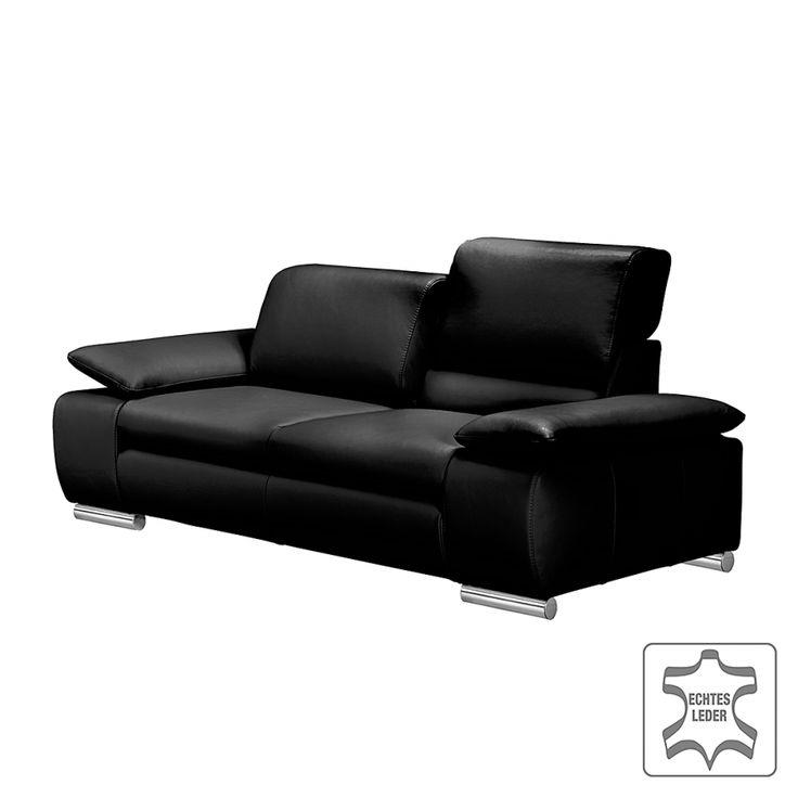 Polstergarnitur Masca (3-2) - Echtleder Schwarz3-Sitzer: 232 x 78-89 x 96 cm 2-Sitzer: 212 x 78-89 x 96 cm Sitzhöhe: 43 cm Sitztiefe: 57-64 cm