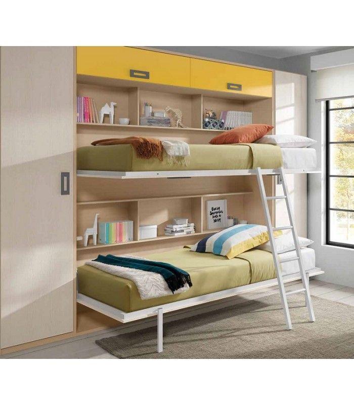 Camas abatibles deliteras para habitaciones juveniles pequeñas, del catálogo de la fábrica de muebles Mundo Joven.