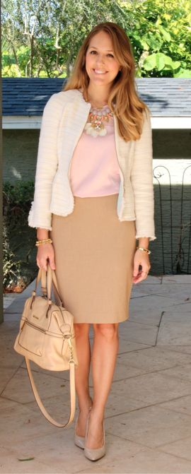 Zara blazer, Express top, Limited skirt, Enzo Angiolini pumps, Calvin Klein purse, Stella & Dot necklace