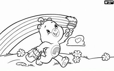 The Care Bear Cheer Bear painting a rainbow in the sky