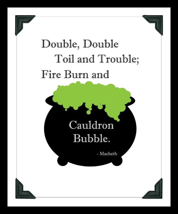 Shakespeare Halloween Quotes: Double Double, Shakespeare Quote Print From Macbeth