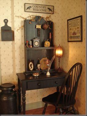 primitive desk hutch/book shelf.