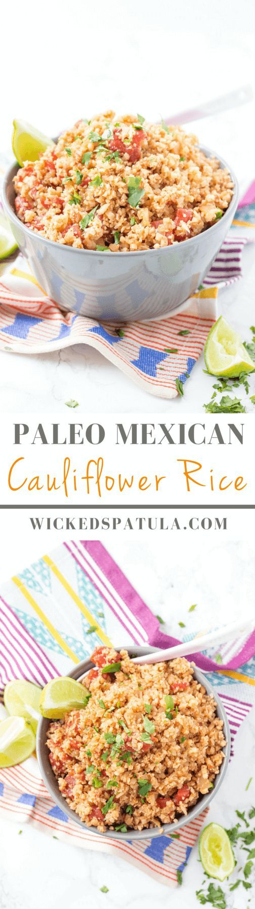 Mexican Cauliflower Rice - This quick and easy paleo side dish is bursting with Mexican flavors for a fraction of the carbs of normal rice