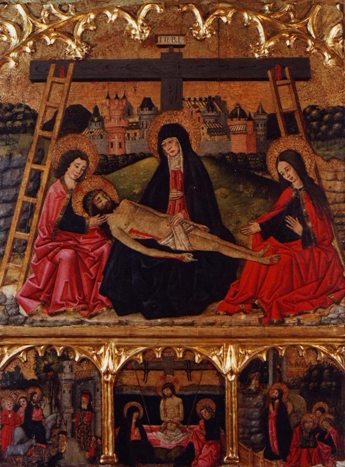 Altarpiece of the Pietà / Retablo de la Piedad // Last quarter 15th century // Anonymous Castilian // Museo de Bellas Artes de Bilbao // #Jesus #Christ #PassionofChrist #Lamentation