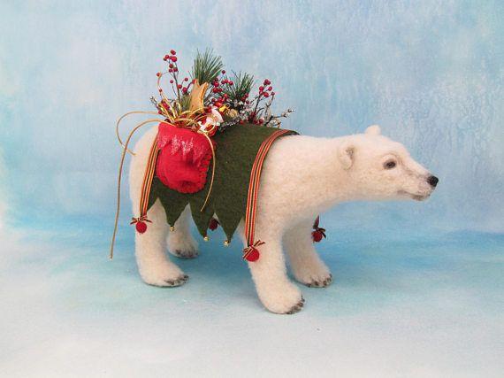Polar Bear Christmas Polar Bear Needle Felt Polar Bear