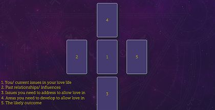 Five Card Finding Love Cross Tarot Spread! Check out this and more free tarot spreads by The Tarot Guide! Tarot card spreads, tarot card layouts, love tarot spread, Finding Love tarot spread, 5 card spread, tarot Dublin, how to read tarot cards,