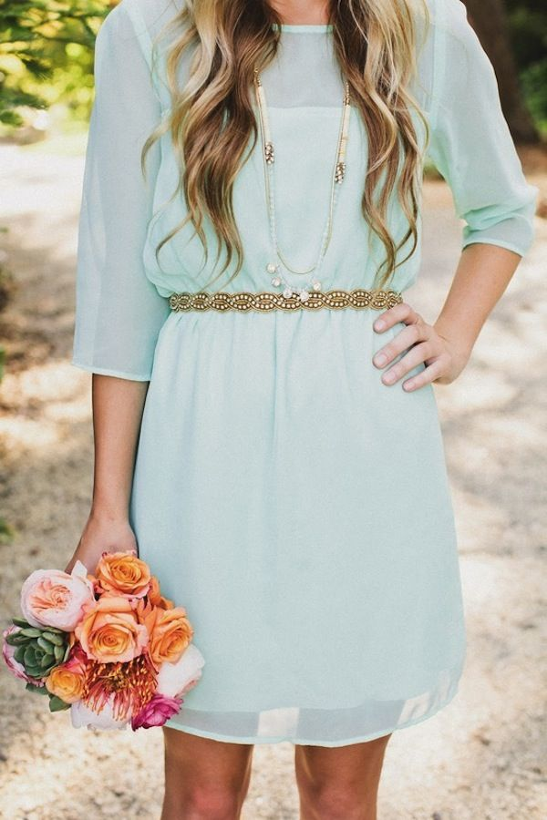 Mint dress with gold accents. Great bridesmaid dress for a casual wedding.