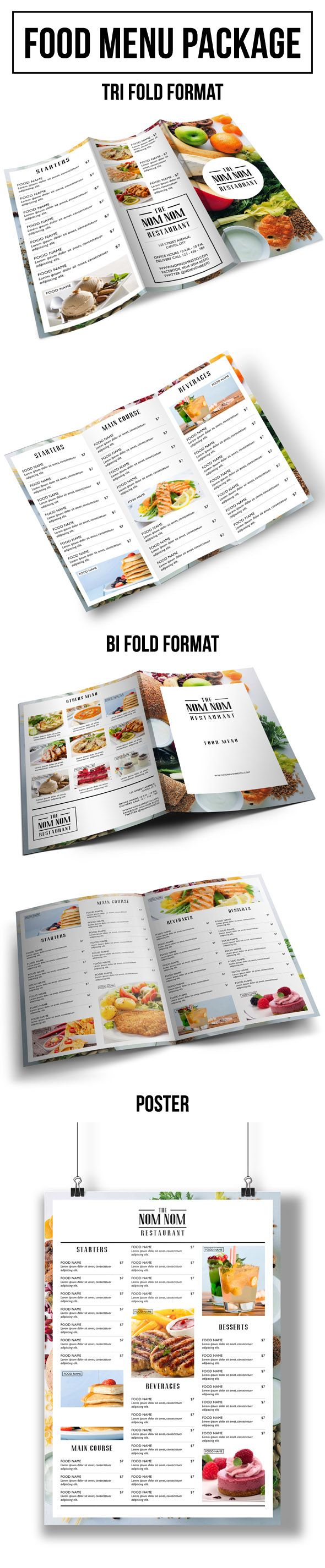 It is a food menu package for your restaurant / cafe purposes. Available in letter size in indd format with 2 kinds of format which is: tri fold and bi fold. All you need to do is just change the logo, text and images. You can easily change the colour too. If you like it and find it useful click on the link provided. :)