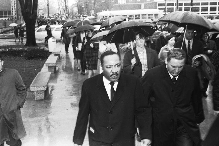 Dr. Martin Luther King Jr. gave his last college address at Manchester University on February 1, 1968. In this picture he is seen walking in to the Union with President A. Blair Helman.