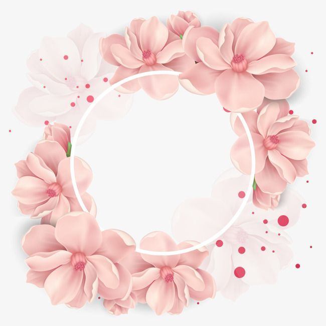 Vector cherry decoration, Flowers, Wreath, Pink PN…