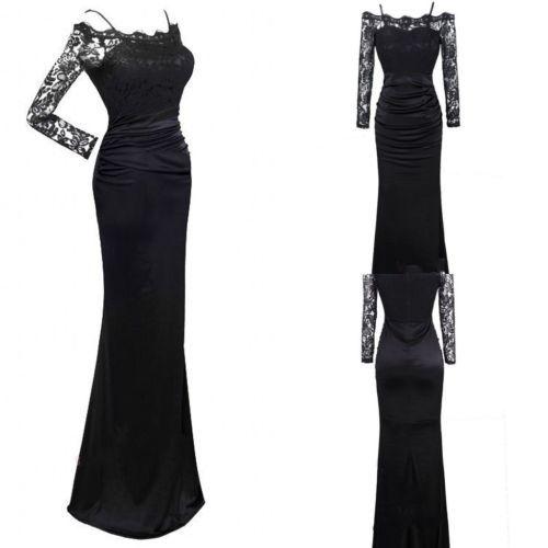 Langes schwarzes kleid mit spitze