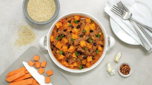 Biffgryte med søtpotet og quinoa - Kjapp mat - MatPrat