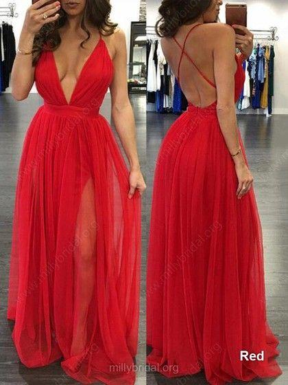 c35278eacb6a Hot A-line V-neck Tulle Floor-length Split Front Black Backless Prom Dresses   Milly020103576