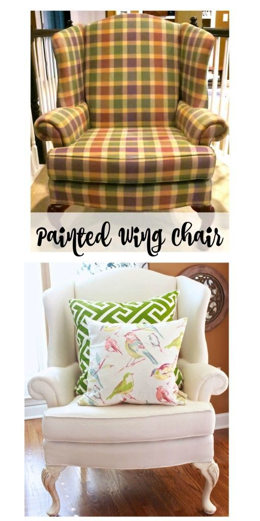 Painted Wing Chair...it worked! YES - you can paint the fabric! It feels like very soft canvas and it is one of our favorite places to sit. - 2 Bees in a Pod