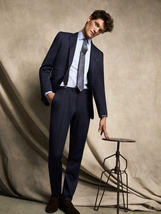PANTALÓN LANA SARGA MARINO SLIM FIT PERSONAL TAILORING de HOMBRE - Personal Tailoring de Massimo Dutti de Primavera Verano 2017 por 99.95. ¡Elegancia natural!