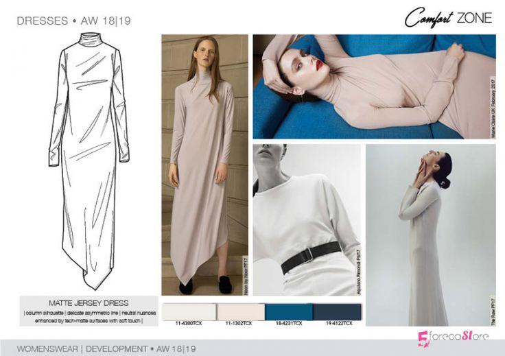 FW 208-19 Trend forecast: MATTE JERSEY DRESS, column silhouette, asymmetric line, development designs by 5forecaStore Fashion trend forecasting.