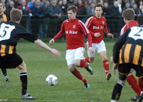 Marc Goodfellow on the ball for Gresley will be hoping to shine for King's Lynn Town.