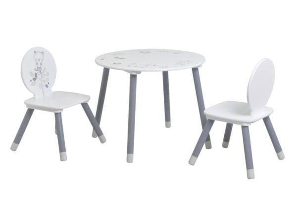 Set Table 2 Chaises Enfant Bear Gris Et Blanc Motif Ours Kids But Petit Meuble Chaise Enfant Set De Table