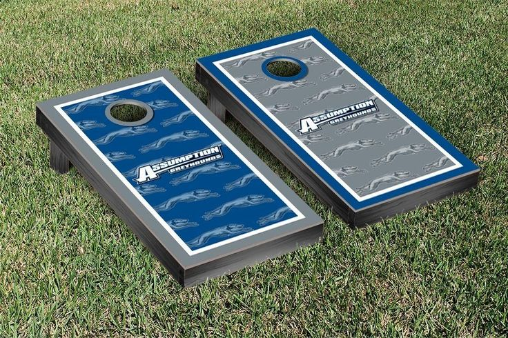Assumption College Greyhounds Repeat Logo Wallpaper Cornhole Set