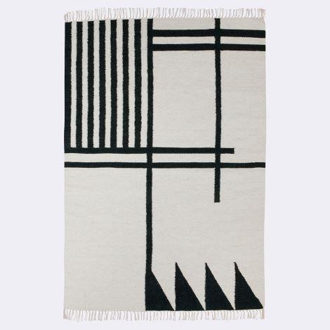 norsu interiors - ferm LIVING Kelim rug - black lines, large, $399.00 (http://www.norsu.com.au/ferm-living-kelim-rug-black-lines-large/)