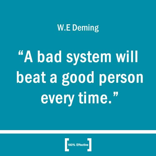 Don't lose good people over poor systems #Lean #LeanSixSigma quote http://www.100pceffective.com/blog/human-side-change-management/