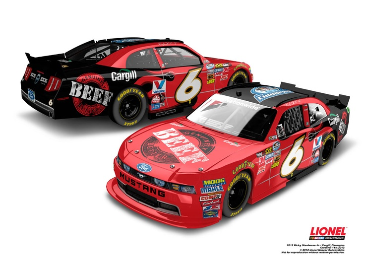 The NASCAR Nationwide Series champ version of Ricky Stenhouse Jr.'s No. 6 Cargill Beef die-cast is now available! Order yours now at www.lionelnascar.com, the NASCAR Superstore or your hometown die-cast dealer.