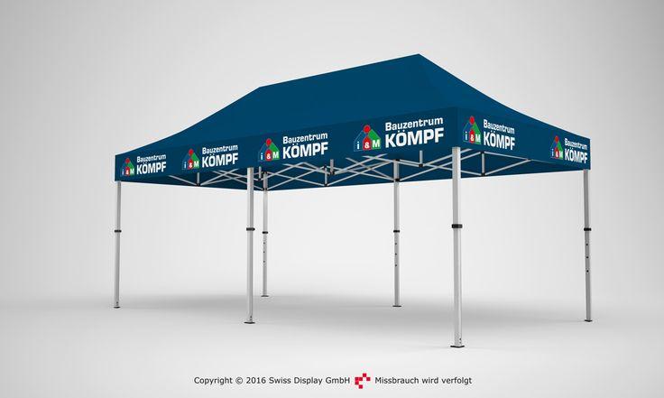 Faltpavillon 3x6m. Dein Pavillon kann auch wunderbar ohne Seitenwände Stand halten. Je nach Art und Idee deines Werbeauftritts, kannst du beliebig Seitenteile bestellen.