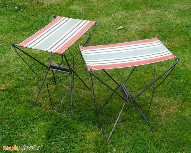 Objet Vintage ... Ancienne CHAISE de camping, en vacances, à la ...