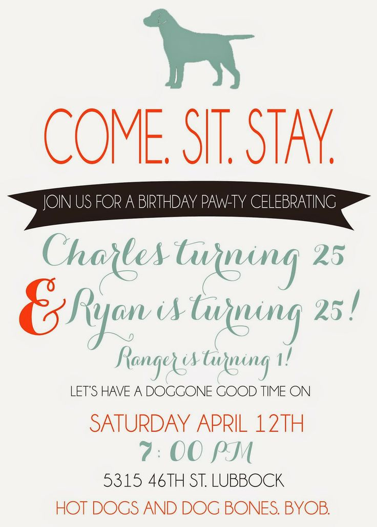 11 best Dog Birthday Party Invitations images on Pinterest   Puppy ...