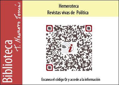Hemeroteca: Código QR de acceso a la colección de revistas vivas de Política, de la Biblioteca Tomás Navarro Tomás.