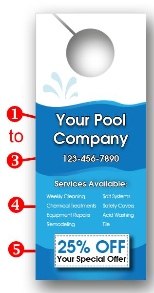 Pool Cleaning Company Door Hanger Door Hangers Cleaning